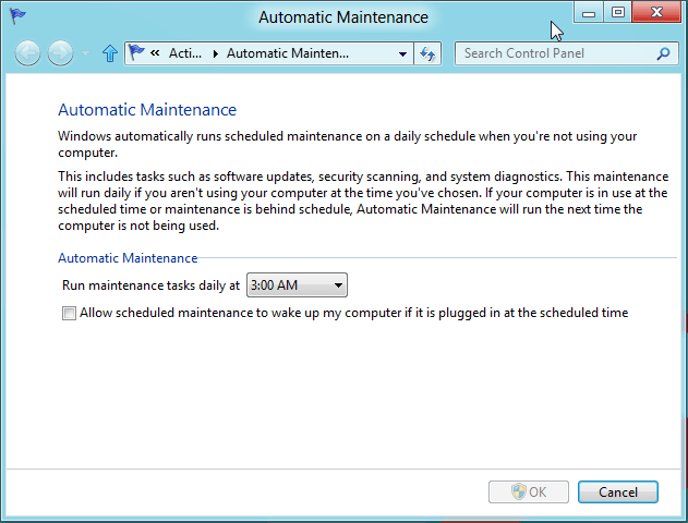 Automatic Maintenance Windows 8
