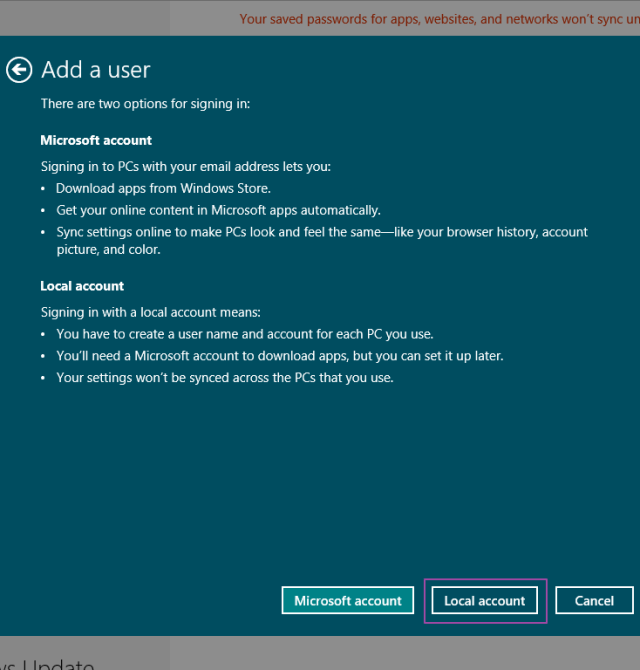 Local user account in Windows 8