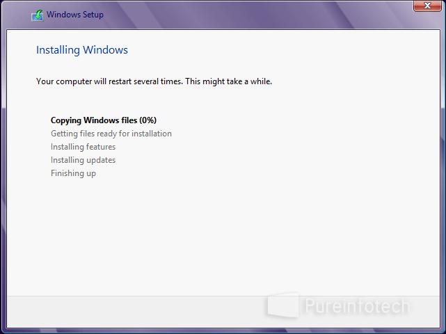 Windows Setup copying files