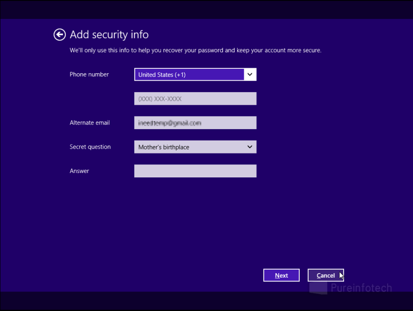 Microsoft account additional security