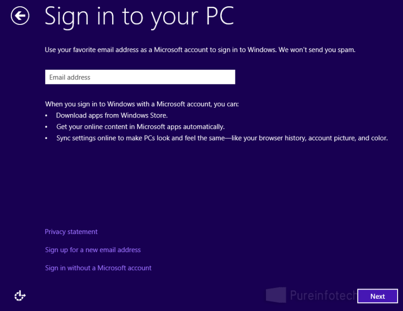 MS account Win 8 signin