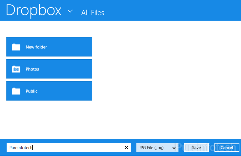Dropbox win 8 app save as option