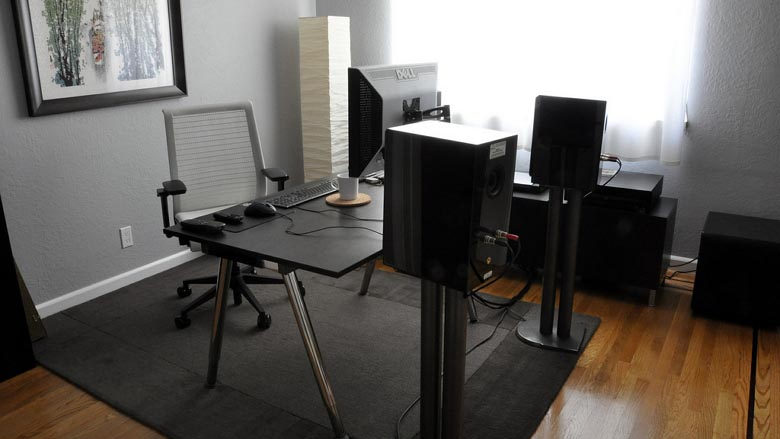 A workspace designed for sound with a dark color scheme 780_wide