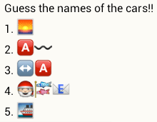 Guess the names of the cars