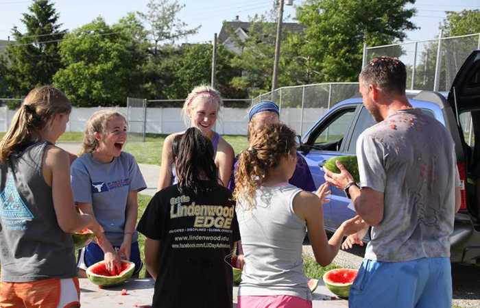Track team bonds in watermelon run