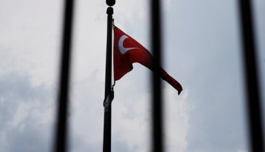 The Turkish flag flies at the Embassy of Turkey in Washington, U.S., August 6, 2018.     REUTERS/Brian Snyder