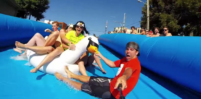 Giant Water Slide Down A San Francisco Street