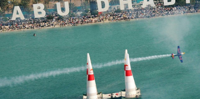 Pilot Peter Besenyei performs during the Red Bull Air Race World
