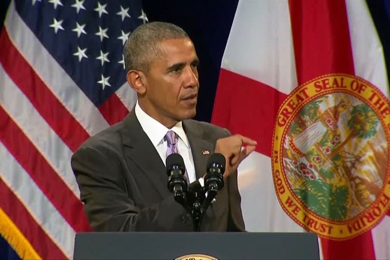 "President Barack Obama, speaking in Florida on Oct. 20, 2016, says he doesn't want to see anybody ""left out"" without healthcare coverage because of premium increases, but says the answer isn't ""repealing and replacing"" the Affordable Care Act."