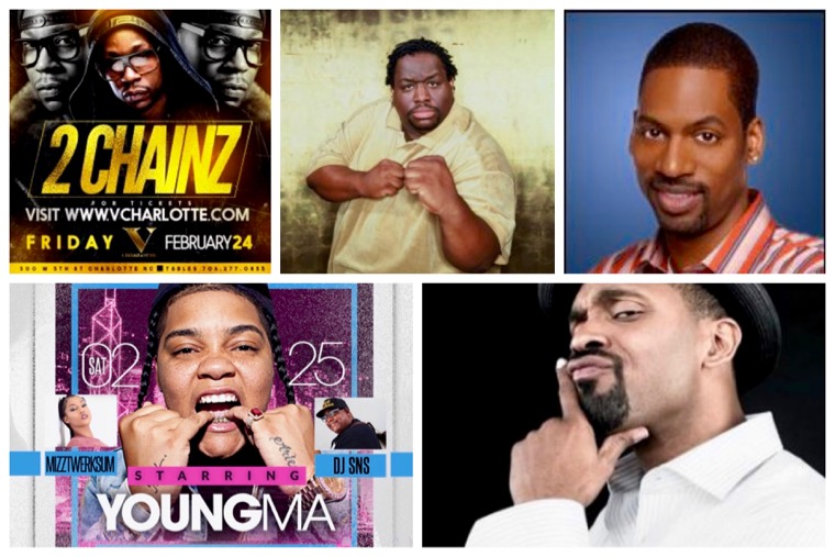 Rappers 2 Chainz and Young M.A and comedians Mike Epps, Bruce Bruce and Tony Rock will perform during CIAA week in Charlotte.