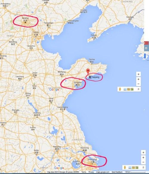 map_Qingdao Shanghai Beijing