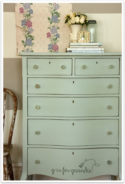 Q is for Quandie, Fusion Mineral Paint, vintage dresser, painted dresser, shown on the Fab Friday Link Party at www.thepainteddrawer.com