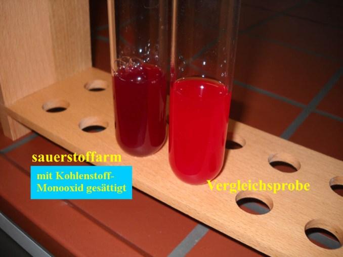 mit Kohlenstoffmonooxid gesaettigte Blutprobe
