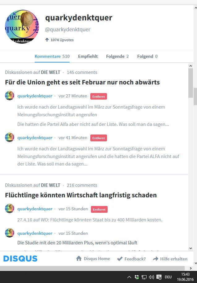 0 19-6-16 Alfa wird gedisst in Diskussion um Umfragewerte der CDU Welt.de krass