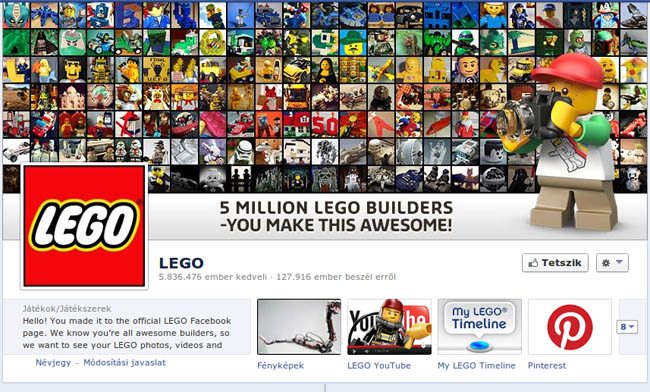 LEGO a Facebook-on ~ 6.000.000 rajongó