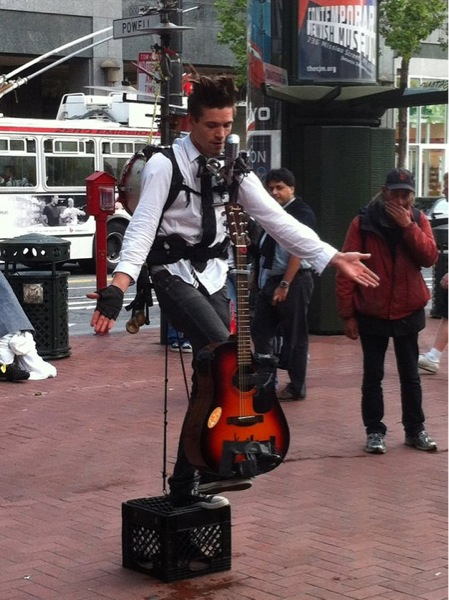 image of street entertainer in San Francisco