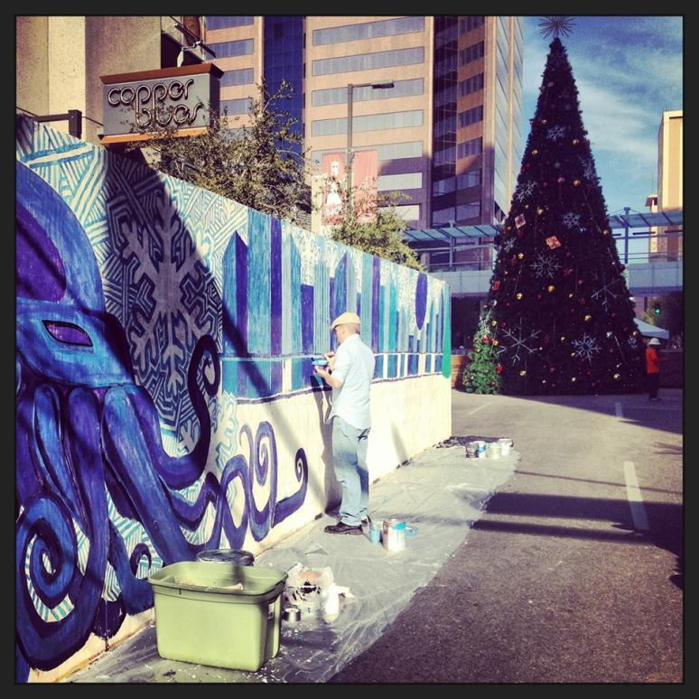 Justin painting the