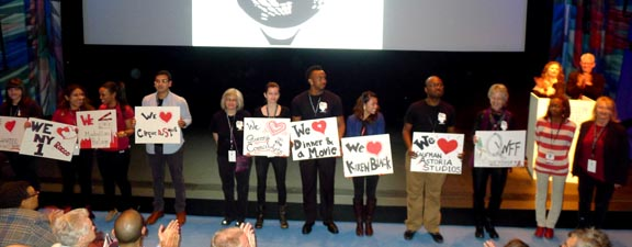 Volunteers of the Queens World Film Festival on the stage of the theatre at the Museum of the Moving Image in Astoria, Queens.