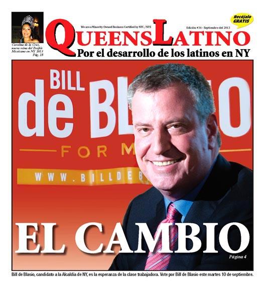 La portada de la edición impresa de septiembre de QueensLatino