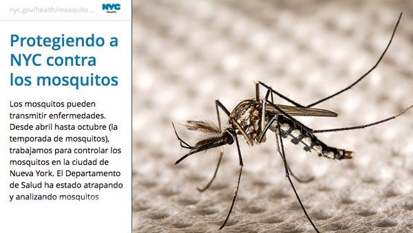 Departamento de Salud de NYC y su nuevo portal interactivo con información sobre el control de mosquitos