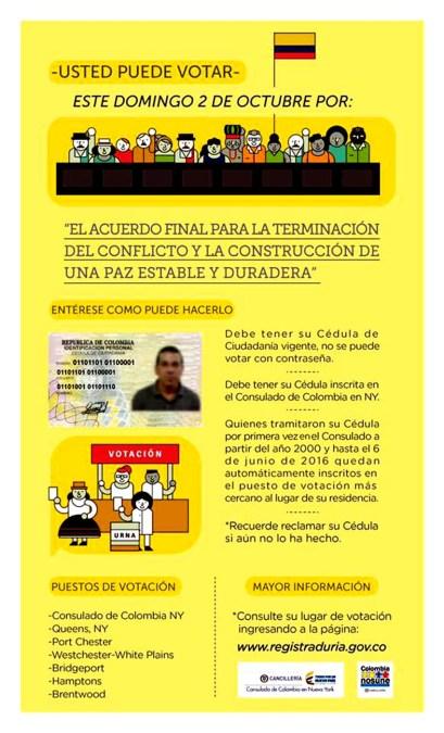 Qué deben saber los colombianos en el exterior para poder votar este 2 de octubre en el Plebiscito