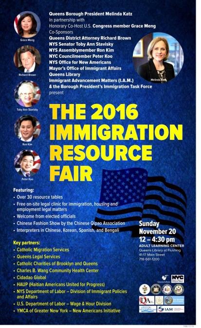 Feria de recursos de inmigración en biblioteca de Flushing este domingo 20 de noviembre