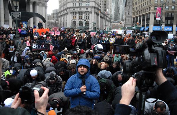 Protesta en Manhattan contra política de inmigración del presidente Trump