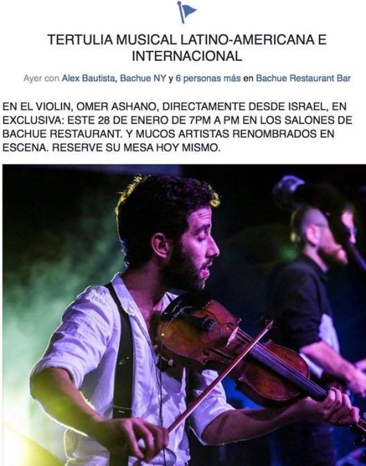 Tertulia musical en el restaurante Bachue el sábado 28 de enero