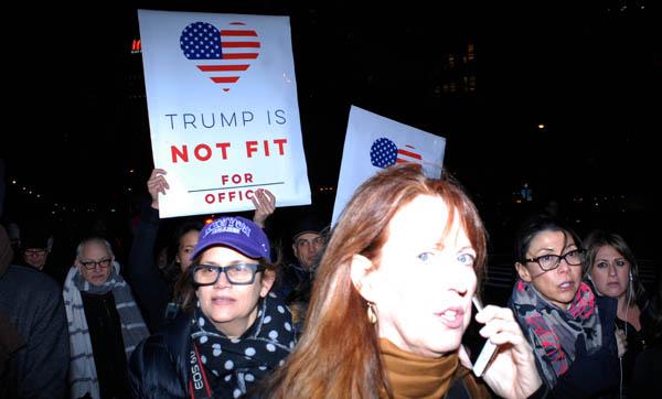 Protestas en Nueva York contra nuevo presidente Donald Trump