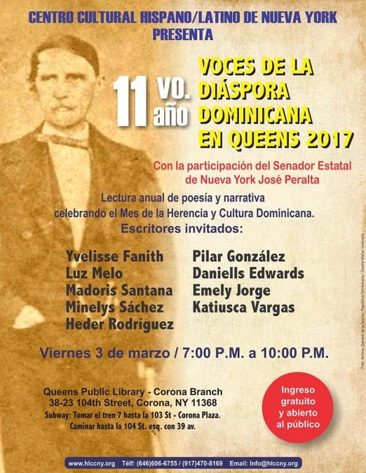 Voces de la diáspora dominicana en Biblioteca de Corona el viernes 3 de marzo
