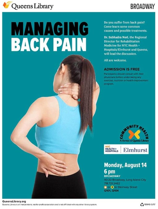 Suffer From Back Pain? Learn Causes and Treatments this Monday 14
