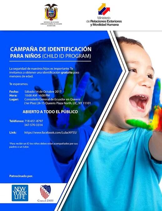 Consulado de Ecuador en Queens anuncia campaña de identificación para niños y feria de salud este sábado 14 de octubre