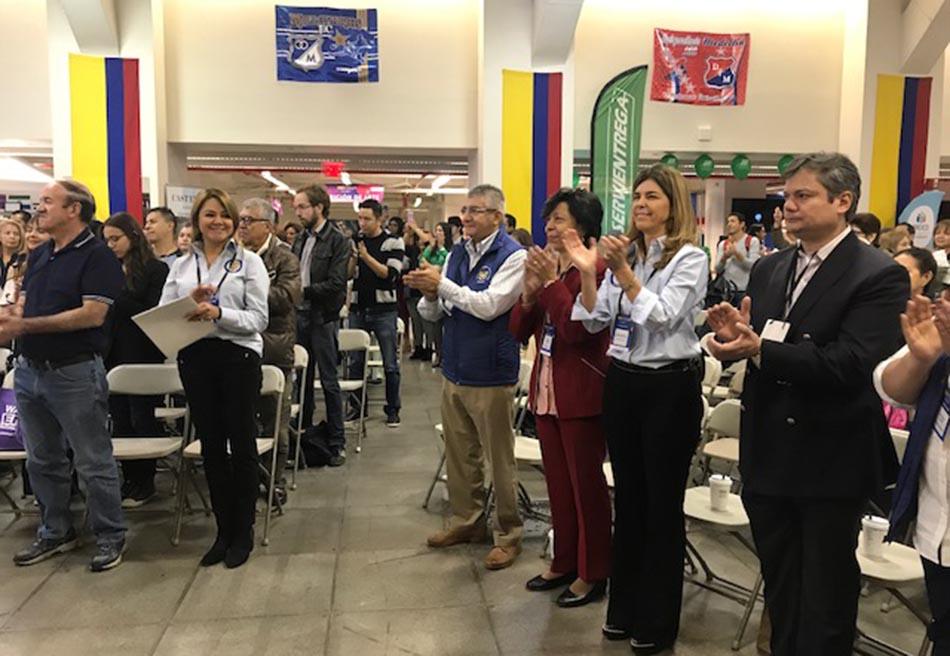 Los representantes del gobierno de Colombia durante la inauguración de la Cuarta Feria de Servicios.