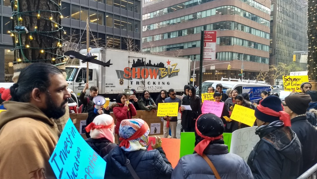 DRUM and immigrant groups demonstrated against Senator Shumer's immigration policy