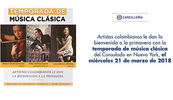 Consulado de Colombia en NY con música clásica marzo 21