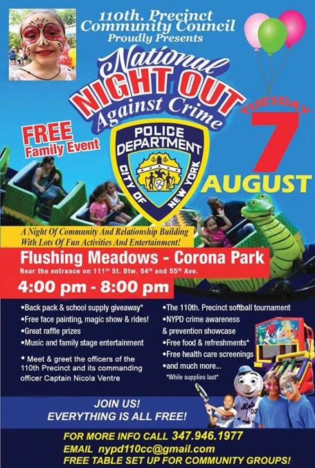 Noche contra el crimen de cuartel 110 en Parque Flushing