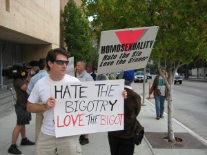 Homosexuality, hate bigotry, love the bigot, demo at LA Catholic Cathedral