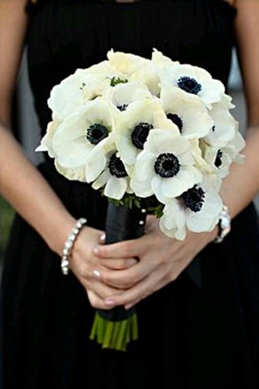 Ramo novia en blanco y negro