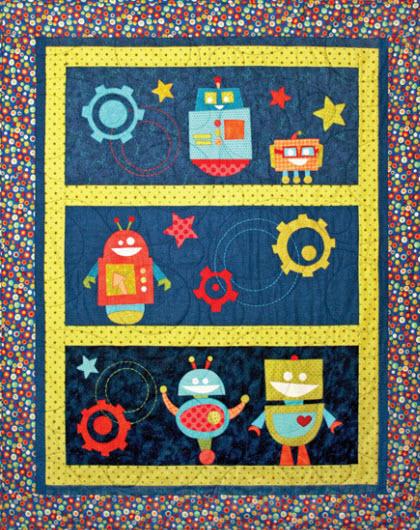 Beta bots applique quilt quilting for Robot quilt fabric