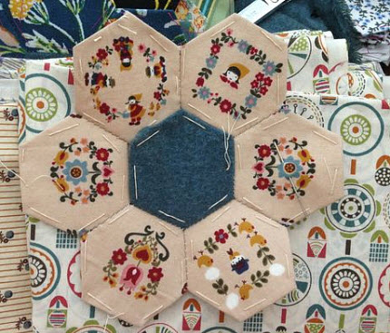 hexies with folk art printed fabric