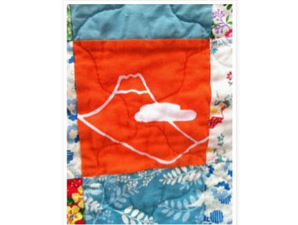 Tenugui towel fussy cut baby quilt