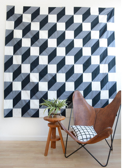 Geometric quilt inspired by Anthroopologie Rug