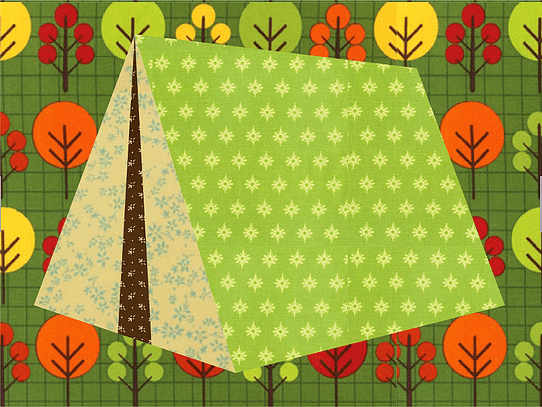 Camping Tent Paper Pieced Quilt Block