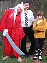 Costume photo of me with my two children in 2008