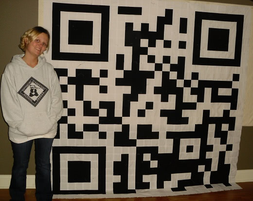 bea and barcode quilt top