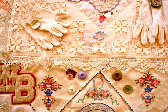 Memory quilt (detail) by Janann Schiele for Quilt Country story