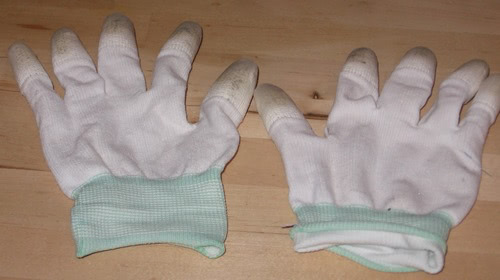 Machingers Quilting gloves, all worn out