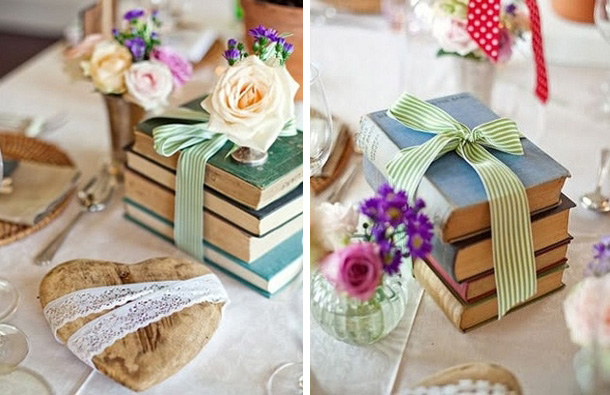 vintage wedding and event decor with old books