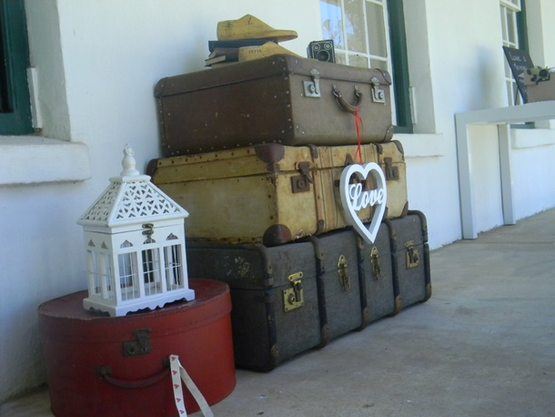 Vintage wedding decor hire - suitcases