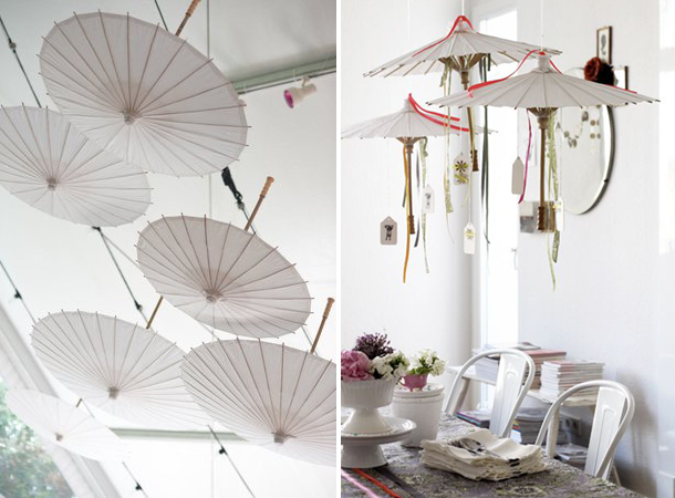 White paper parasols - wedding
